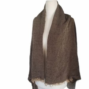 FREE PEOPLE Cape Shawl Coverup Brown Black Fringed